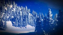 Snow covered Christmas forest in mountains 3d rendering Stock Illustration