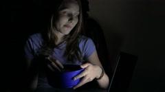 Girl watching movie in the cinema. 4K UHD Stock Footage