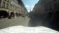 POV of a man riding a tour bike through European city. Stock Footage