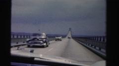 1955: driving across long bridge over lake waters MIAMI, FLORIDA Stock Footage