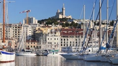 Ships in the port of Marseille Stock Footage