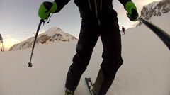 POV of young man skiing down a snow covered mountain. Stock Footage