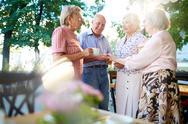 Group of smart seniors interacting at leisure Stock Photos