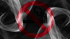 No smoking sign with red and grey smoke on black background Stock Footage