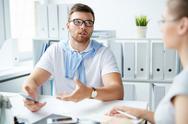 Talk in office Stock Photos