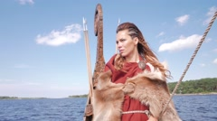 Viking woman on the Drakkar Stock Footage