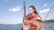 Viking woman on the Drakkar Stock Footage