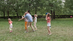 Active Game for Children and Adults Stock Footage