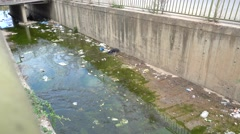 View on littered drainage ditch Stock Footage