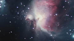 Orion Nebula is a diffuse nebula in Orion's Belt Stock Footage