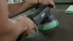 Polishing bonnet car Stock Footage