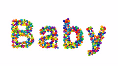 Baby greeting card design with colorful balls Stock Footage