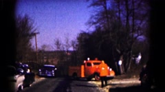 1961: firetruck and police car pull up to white home HAGERSTOWN, MARYLAND Stock Footage