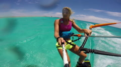 POV of a young woman kite surfing in Egypt on a sunny day. Stock Footage