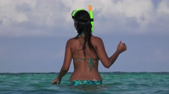 Bikini Clad Woman In Ocean Smiling And Laughing With Snorkel Stock Footage