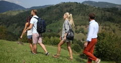 Happy People Group of Friends Looking Sightseeing Walk Mountain Touristic Path Stock Footage