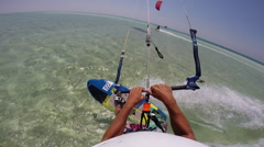 POV of a young man kite surfing on a sunny day in Egypt. Stock Footage