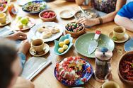 Festive cake and other tasty food on traditional Thanksgiving table Stock Photos