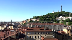 View of Lyon in a summer evening Stock Footage