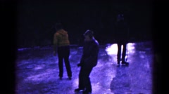 1961: people learning skating in frozen lake HAGERSTOWN, MARYLAND Stock Footage