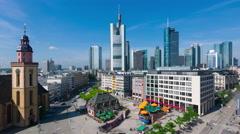 People walk on the Hauptwache in Frankfurt am Main Stock Footage