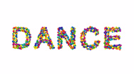 DANCE formed from colorful balls Stock Footage