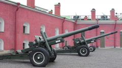 Old Cannons in the Yard of Peter And Paul Fortress Stock Footage