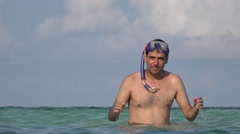 Man Swimming In Ocean With Snorkel Stock Footage