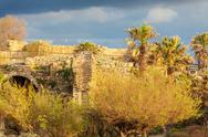 Ruins of Antique Harbor, Caesarea Maritima Stock Photos