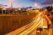 Night Road Traffic Lights, Jerusalem Stock Photos