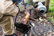 Welder welds buckle by point electric welding Stock Photos