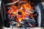 Iron rod is heated in burning wooden coals Stock Photos