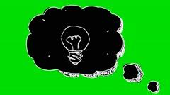 Speech Bubble Idea black colour  - Animation - Hand-Drawn - Green Screen - Lo Stock Footage