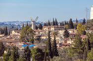View of Famous Windmill, Jerusalem Stock Photos