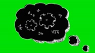 Speech Bubble Idea Math and numbers black - Animation - Hand-Drawn - Green Sc Stock Footage