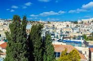 Roofs of Old City with ancient wall gates, Jerusalem Stock Photos