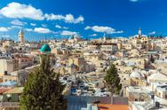 Roofs of Old City with Holy Sepulcher Church Dome, Jerusalem Stock Photos