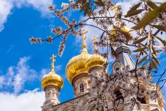 Easter view of Mary Magdalene Convent with Almond Flowers, Jerusalem Stock Photos