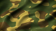 Slow waving camouflage fabric motion background seamless loop Stock Footage