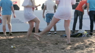 Teenager Girs Dancing on the Sand Stock Footage