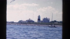 1958: view of lighthouse from the sea MINNESOTA Stock Footage