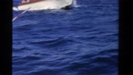 1958: family takes ride on the ocean water when they are on boat they own. Stock Footage