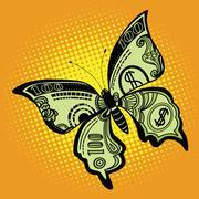 Butterfly dollar bill Stock Illustration