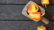 Bell peppers on vintage background Stock Footage
