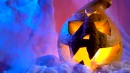 Pumpkin head ready to decorate a holiday hallovin. All Saints Day coming soon Stock Footage