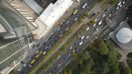Aerial looking down on city traffic Stock Footage