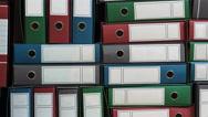 Binders Archive, Ring Binders, Bureaucracy. Pile Of File Binders.  Stock Footage