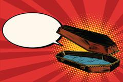 Wooden coffin says comic bubble Stock Illustration