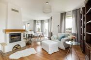Cozy flat with a fireplace idea Stock Photos