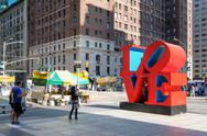 The famous Love sign on 6th avenue in midtown New York Stock Photos